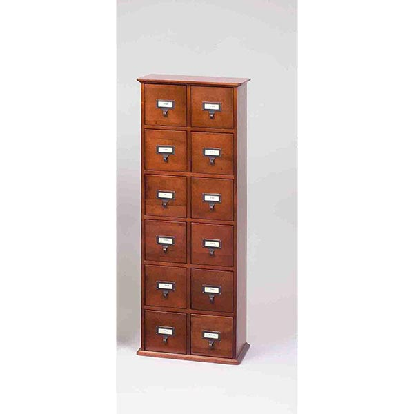 LIBRARY CD STORAGE CABINET WITH 12 DRAWERS IN OAK OR CHERRY