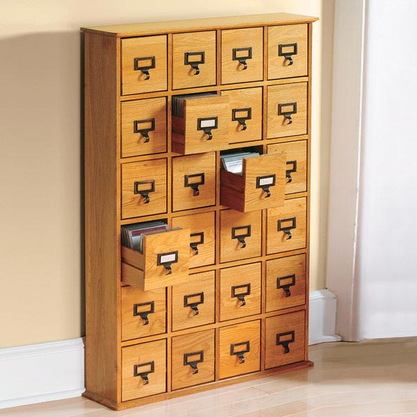 LIBRARY STYLE CD STORAGE CABINET WITH 24 DRAWERS   HOLDS 288 CDS