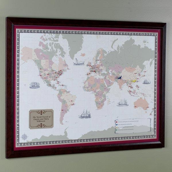 Personalized world traveler map set framed with pins at wireless personalized world traveler map set framed with pins gumiabroncs Image collections