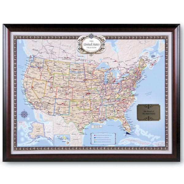 Personalized usa traveler map set framed at wireless catalog hf1862 personalized usa traveler map set framed gumiabroncs Image collections