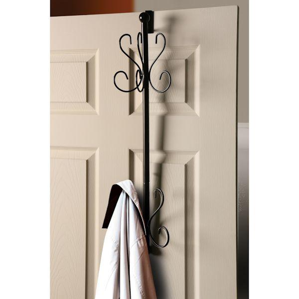 Overdoor Hanging Coat Rack 10 Hooks Wrought Iron Metal Look