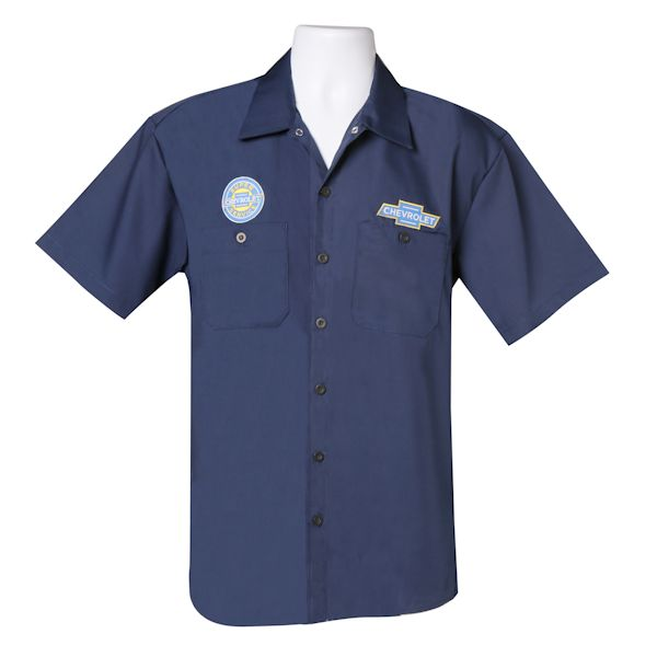 Chevy mechanic 39 s shirt button down collar work shirt for Blue button up work shirt