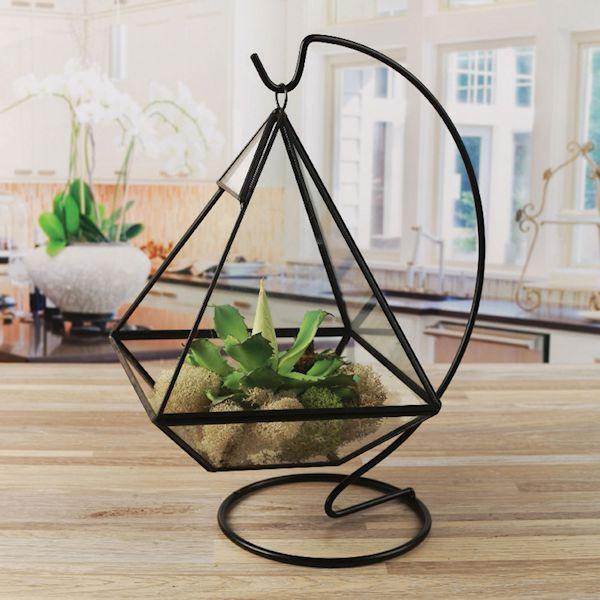 Circleware Hanging Glass Terrarium With Stand Black Geometric