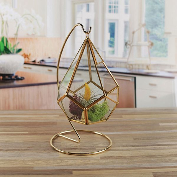 Circleware Hanging Glass Terrarium With Stand Gold Geometric Tear