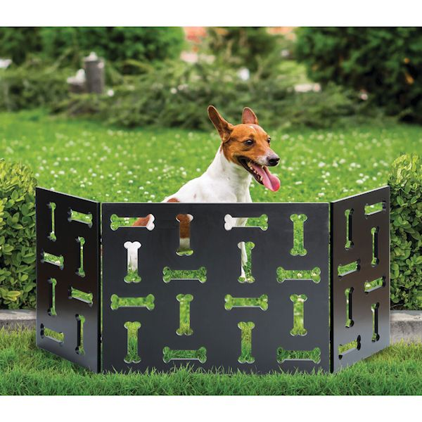 Etna 3 Panel Wood Pet Gate With Bone Cutout Design Freestanding Tri Fold Dog Fence For Doorways Stairs Indooroutdoor Pet Barrier