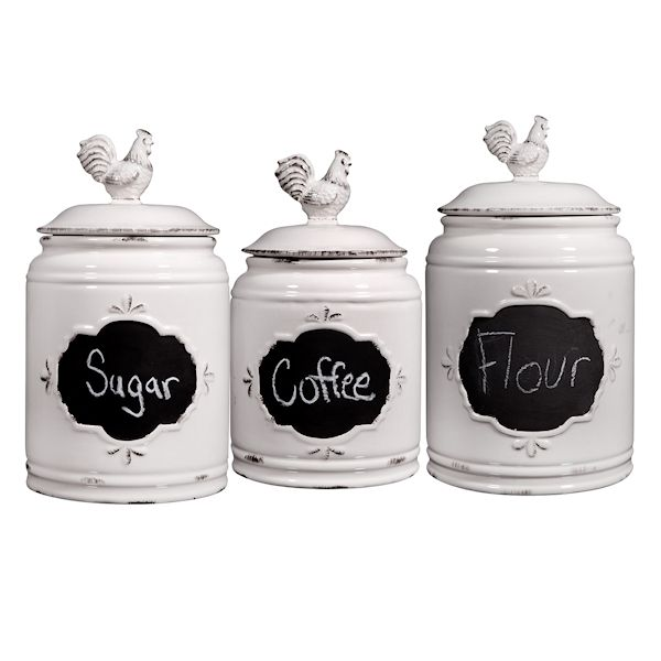 Home Essentials 3 Pc Rooster Canisters Set Of Farmhouse Ceramic Chalkboard Label Kitchen Countertop Food Storage Jars Ivory At Wireless Catalog Ta7042