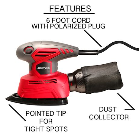 Great Working Tools Mouse Detail Sander, Orbital Palm Sander with Dust Collection Bag & 27 pcs Sandpaper, 1.1 Amp 14,000 OPM