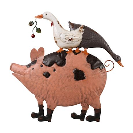 Geese And Pig Garden Wall Decor