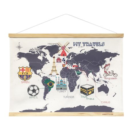 Cross-Stitch World Traveler's Map