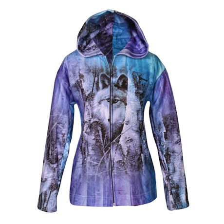 Waiting Wolf Zip Front Hooded Sweat