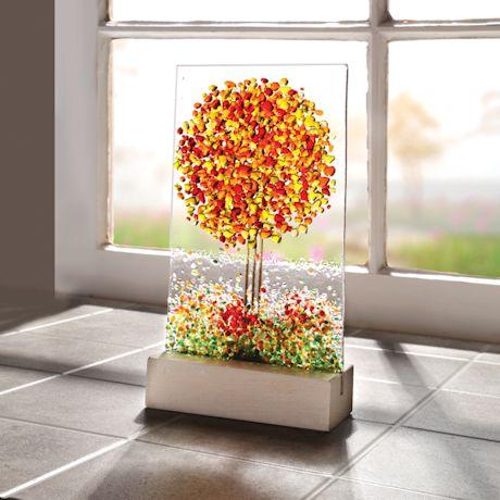 Fused Glass Fall Tree Suncatcher