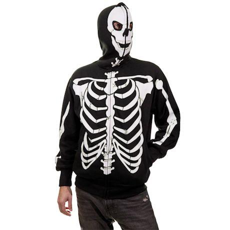 Glow In The Dark Full Zip Skeleton Hooded Sweatshirt