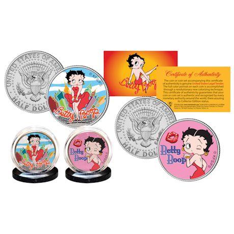 Betty Boop JFK Half Dollar 2 Coin Set