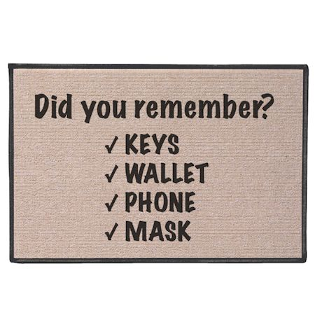 Did You Remember? Keys, Wallet, Phone, Mask Doormat
