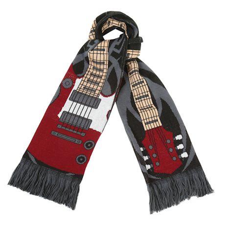 "What on Earth Unisex Unicorn Scarf - Extra Long Fun Print - Guitar, 70"" x 7 1/2"""