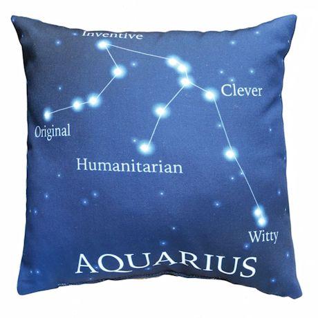 Horoscope Navy Blue Decorative Throw Pillow