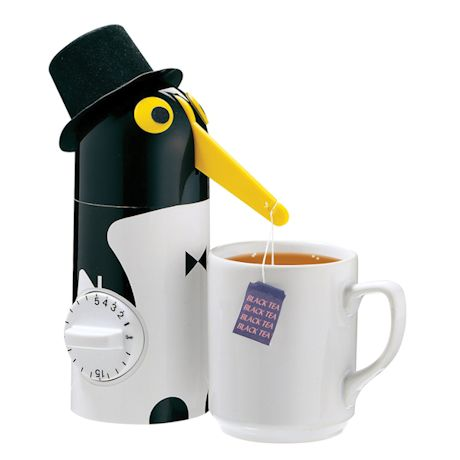"""Penguin Automatic Tea Steeper and Kitchen Timer - 8"""" High"""