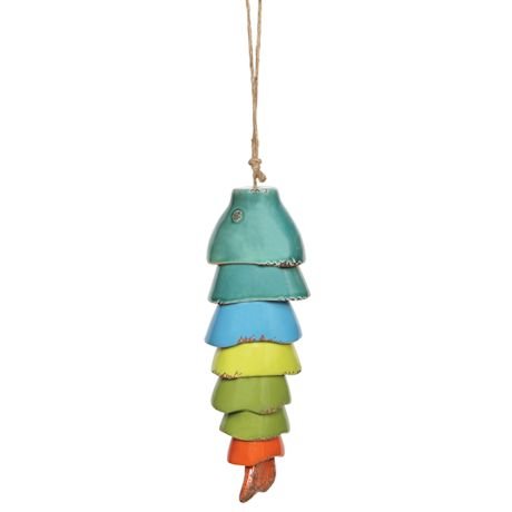 Ceramic Rainbow Koi Fish Wind Chimes
