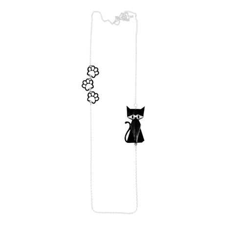 Sterling And Paper Cat Necklace
