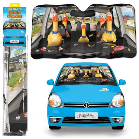 Car Full of Rubber Chickens Car Sunshade