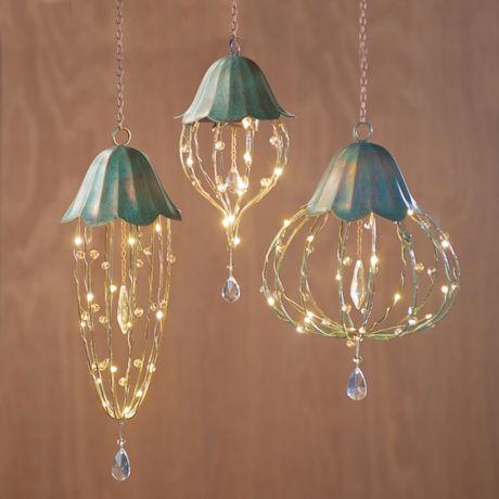 Cordless Crystal Hanging Lanterns Set