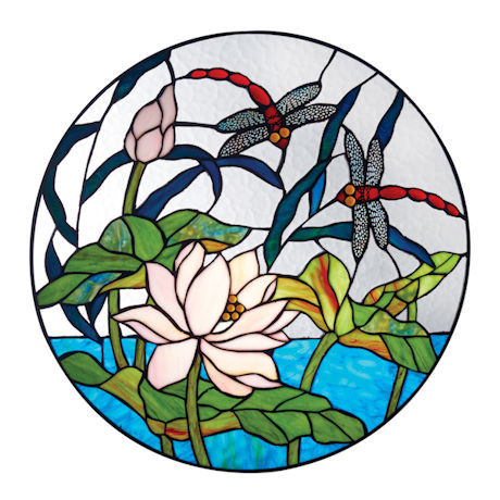 Dragonfly Pond Stained Glass Panel