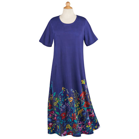Blue Wildflowers T-Shirt Dress