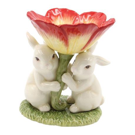 Bunnies and Flower Sculpture