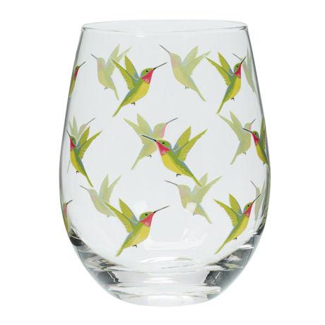 Birds Stemless Glass Set of 4 - Hummingbirds