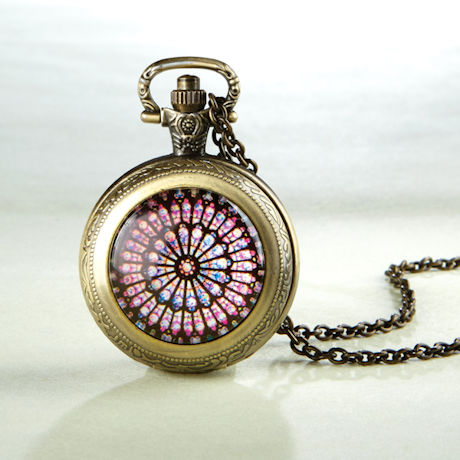 Notre Dame Rose Window Pocket Watch Necklace