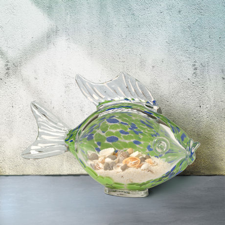 Glass Fish with Sand  and Shells