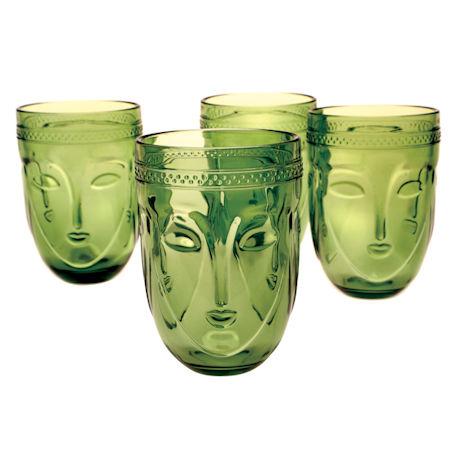 Green Glass Buddha Tumblers - Set of 4