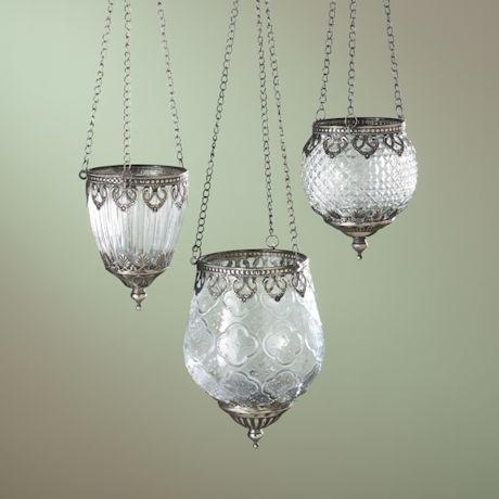 Pressed Glass Hanging Tea Light Holders