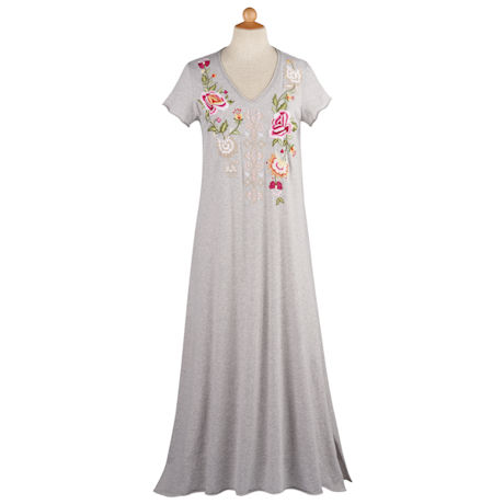 Floral Embroidered T-Shirt Dress