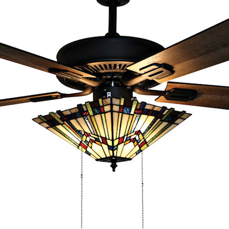 Mission Style Stained Glass Ceiling Fan