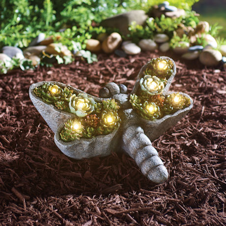 Solar Dragonfly with Succulents Garden Light