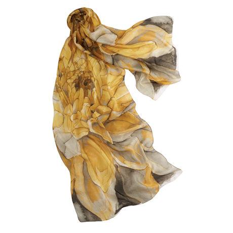 Yellow Dahlia Silk Scarf