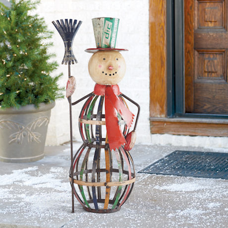 Upcycled Metal Snowman