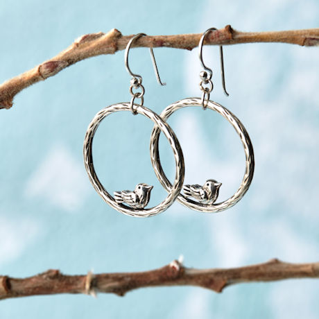 Little Bird Circle Earrings