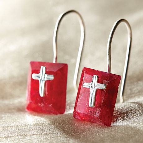 Exclusive Ruby Cross Earrings