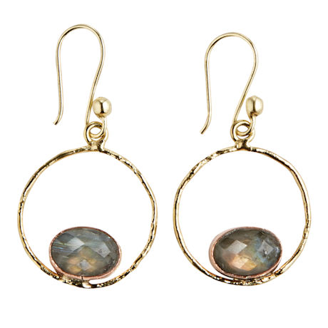 Labradorite Circle Earrings