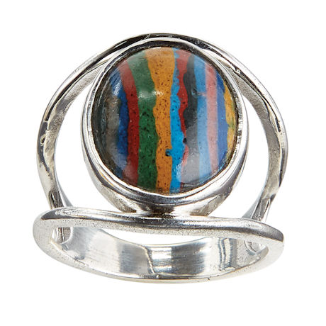 Rainbow Calsilica and Lapis Ring