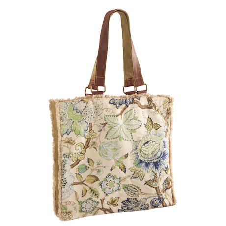 Fringed Floral Canvas Tote