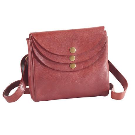 Leather Triple-Pocket Crossbody Bag