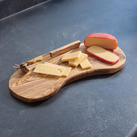 Handcrafted Olive Wood Cheese Board Set
