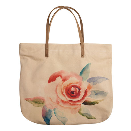 Watercolor Flower Canvas Tote