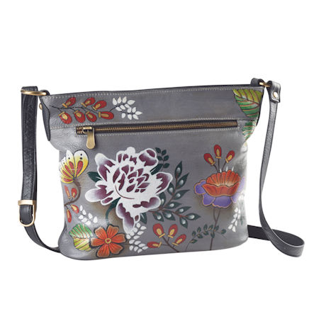 Hand-Painted Leather Crossbody Bag