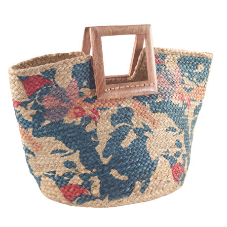 Jute Carryall with Mango Wood Handles