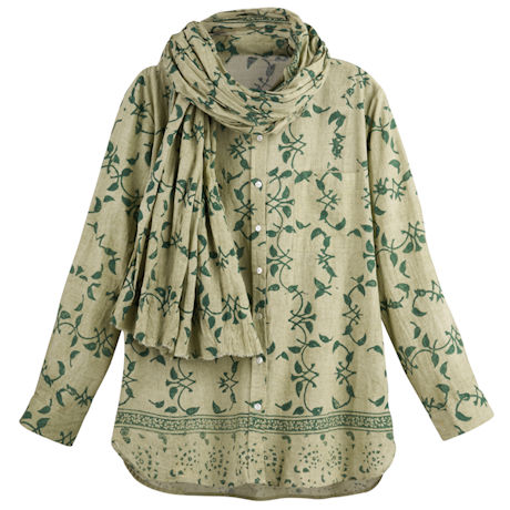 Block Printed Vines Shirt and Scarf