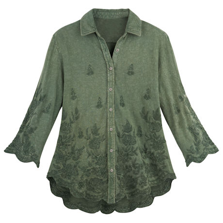 Scalloped Edge Embroidered Shirt